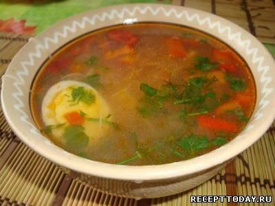 Рисовый суп с зеленью