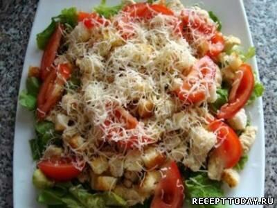 Рецепт Cалат с сухариками и помидорами