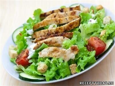 Рецепт Салат с сухариками и курицей