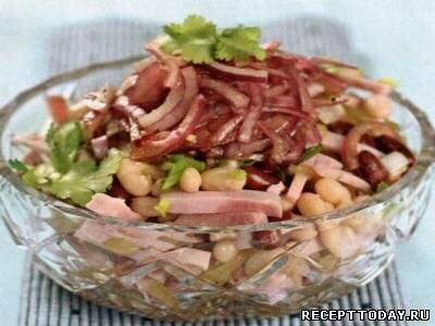 Салат из фасоли с бужениной