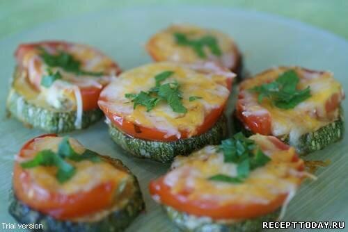 Кабачки запечённые с сыром и помидорами