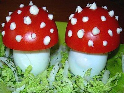 Фаршированные яйца грибами