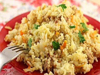 Рис с фаршем и морковью